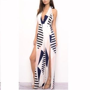 BACKLESS  ABSTRACT JUMPSUIT